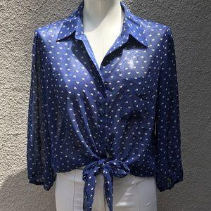PLEIONE blue print chiffon tie front blouse